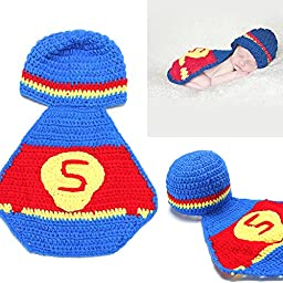 yazi Baby Super Costume Toddler Crochet Knit Hat Photo Prop Baby Shower Gift