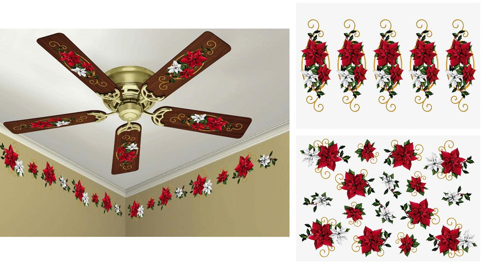 Holiday Poinsettia Ceiling Fan And Wall Removable Decals