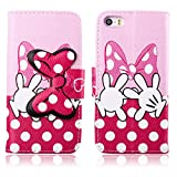 Fashion Youth Series Cute Design Pink Bow Bowknot Hand Wallet Flip Case Folio PU Leather Stand Cover with Card Slots for Apple iPhone 5 5S + Free Lovely Gift