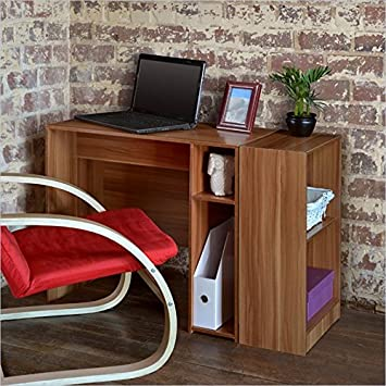 Niche Student Desk with 2-Shelf Bookcase in Warm Cherry