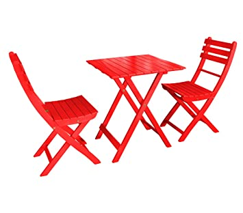 Dehner Balkonset Provence, Tisch ca. 71 x 60 x 60 cm, 2 Stuhle je ca. 86 x 50 x 40 cm, FSC Akazienholz, rot