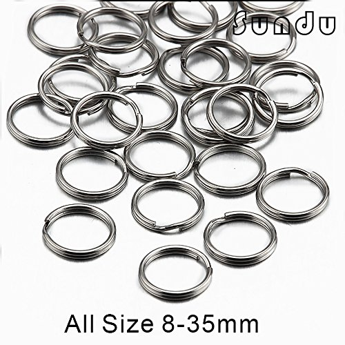 Stainless Steel Split Key Ring 10mm(Steel Original Color,Pack of 20)(1.0x10mm) (10mm Stainless Steel Split Ring compare prices)