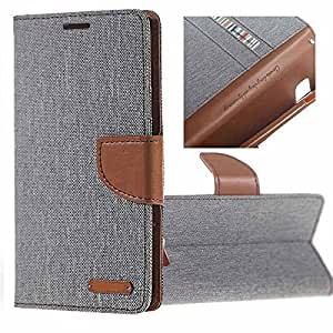 Aart Fancy Wallet Dairy Jeans Flip Case Cover for MotorolaMotoE (Grey) By Aart Store
