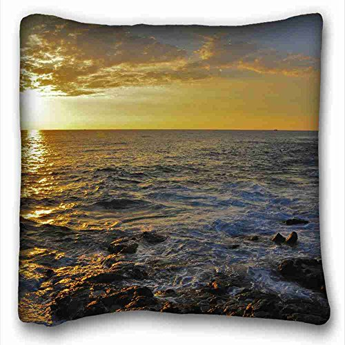 """Custom Characteristic ( Landscapes sunset sea Rocks landscape ) Zippered Body Pillow Case Cover Size 16""""X16"""" suitable for Full-bed PC-Green-6045"""