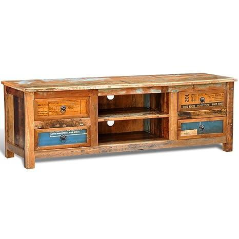 vidaXL Mobiletto da tv in legno riciclato 4 cassetti