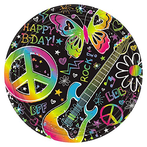 Amscan Groovy Neon Doodle Birthday Party Dessert Paper Plates Disposable Tableware (8 Pack), 7