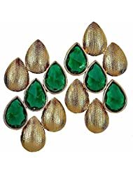 The Jewelbox Dew Drop Antique Gold Plated Green Stud Earring For Women