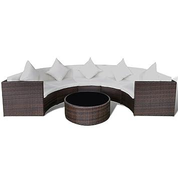 vidaXL Gartenmöbel, Halbrundes Poly Rattan Sofa Set Mit Tisch, Braun