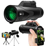 Monocular Telescope, JUZIHAO 12X50 HD Low Night Vision Waterproof High Power Spotting Scopes with Cell Phone Photography Adapter, Tripod Holder for Bird Watching Hunting Camping Hiking Travelling (Color: black)