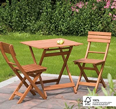 Siena Garden Wood 2 Seater Bistro Set, with Square Table
