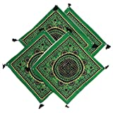 Four Pieces Green With Black Printed Cushion Covers - Cotton