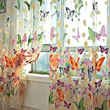 MAKKA Farbige Schmetterling Gardine Transparent Vorhang...