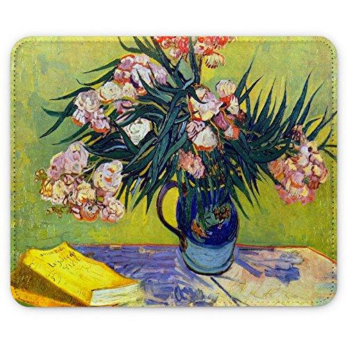 Van Gogh - Still Life With Oleander, Pelle Mouse Pad Tappetino per Mouse Mouse Mat con Immagine Colorato Antiscivolo in Gomma di Base Ideale per Giocare.