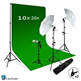 LimoStudio Photography Studio Video Photo ChromaKey Green Screen Background Support Kit 600W Output 3 Point Studio Photography Umbrella Lighting Kit, AGG408 (Color: Green, Tamaño: Small oversize)