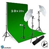 LimoStudio Photography Studio Video Photo ChromaKey Green Screen Background Support Kit 600W Output 3 Point Studio Photography Umbrella Lighting Kit, AGG408