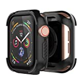 UMTELE Compatible with Apple Watch 4 Case Protector 44mm 40mm 2018, Shock Proof Protective Rugged Case Scratch Resistant Bumper Protector Cover Replacement for Apple Watch Series 4, 44mm (Color: Black, Tamaño: 44MM)