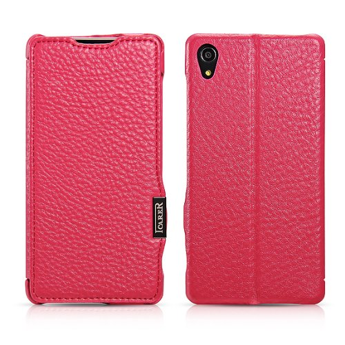 Moon Monkey Luxury Lichee Pattern Premium Genuine Leather Built-In Wallet Design Protective Folio Case For Sony Xperia Z2 With Stand Function (Mm375) (Rose)