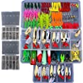 Bluenet 228 Pcs Professional Fishing Lures Tackle Kit Including Bionic Bass Trout Salmon Pike Fishing Lure Frog Lures Minnow Popper Pencil Crank Soft Hard Bait Fishing Lure Metal Spoon Jig Lure by Bluenet