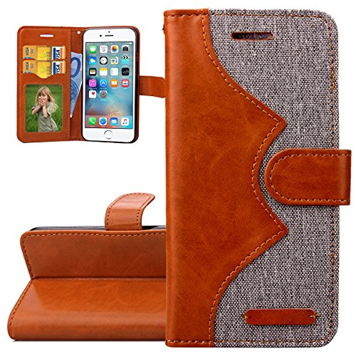 Custodia iPhone 6, ISAKEN Custodia iPhone 6S con Strap, iPhone 6 Flip Cover Elegante Pattern Design Custodia PU Pelle Protettiva Portafoglio Case Cover per Apple iPhone 6 4.7' / con Supporto di Stand / Carte Slot / Chiusura Magnetica - Brown+grey