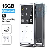 MYMAHDI MP3 Player, Bluetooth 16GB Lossless,FM Radio/Records by one Key, Max up to 128GB,Silver (Color: Blue-16GB)