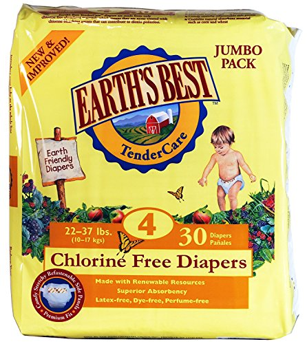 Earth'S Best Chlorine Free Diapers, Size 4, 120 Count
