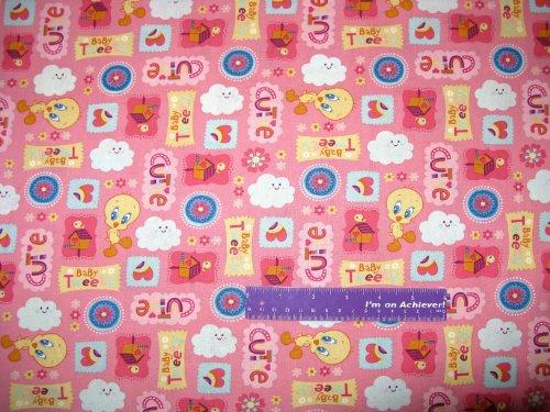 "43"" Wide Tweety Bird Cutie Pink Cotton Fabric By The Half Yard front-826503"