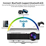 LCD Smart Wireless Bluetooth Projector, EUG 3600 Lumen Android 6.0 Home Cinema Outdoor Video Projectors HD 1080P Support, Airplay Screen Mirror Multimedia HDMI Movie Proyector for Gaming Artwork (Color: Bluetooth,WiFi,3600 lumen-Black&White)