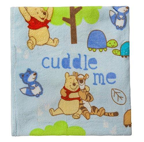 Disney Winnie The Pooh Plush Printed Baby Blanket, Blue - 1