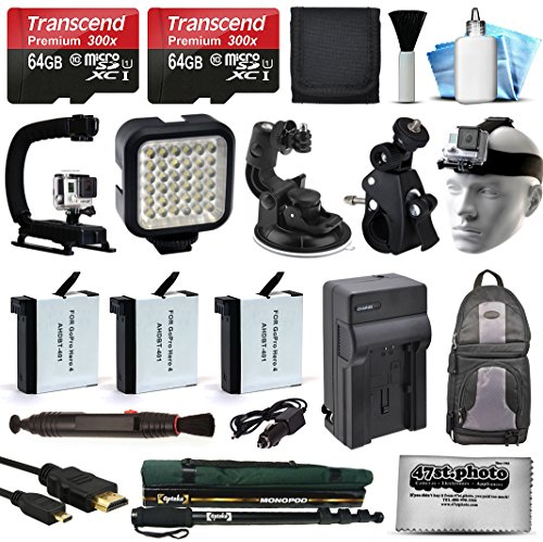 128GB Accessories Bundle for GoPro HERO4 Hero 4 Black Silver includes 64GB Memory + Battery (3 Pack) + Travel Charger + Car Mount + LED Light + Action Stabilizer + Selfie Monopod Stick + More (Go Pro Hero 4 White Accesories compare prices)