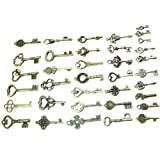 Buytra 40 Pack Vintage Skeleton Keys Charms in Antique Bronze Color for Jewelry Making Supplies, Steampunk Accessories, Craft Projects