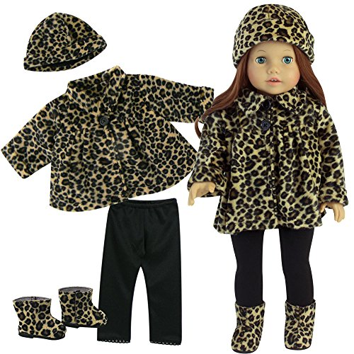18 Inch Doll Clothes Outfit, 4 Pc. Animal Print Outfit of Leggings, Doll Jacket, Hat & Doll Boots Fits 18 Inch American Girl Dolls, Complete Set of Leggings, Doll Coat, Doll Hat & Matching Boots (My Life Clothes compare prices)