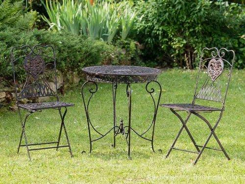gartentisch 2x stuhl eisen antik stil gartenm bel garden furniture braun brown jetzt kaufen. Black Bedroom Furniture Sets. Home Design Ideas
