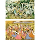 Krishna, Balaram And Their Cowherd Friends With Cows At Vrindavan And Raas Lila - (Set Of Two) - Reprint On Card...