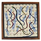 Wooden Snake And Ladder Classic Game With Magnetic Board And Pieces