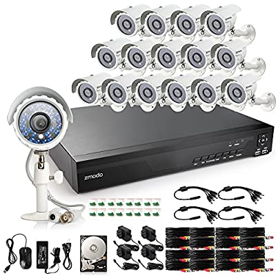 Zmodo 16 Channel HDMI 960H DVR 700TVL Outdoor Indoor Day Night IR-CUT CCTV Surveillance Home Video Security Camera System 2TB Hard Drive Motion Detection Push Alerts 2 Years Warranty