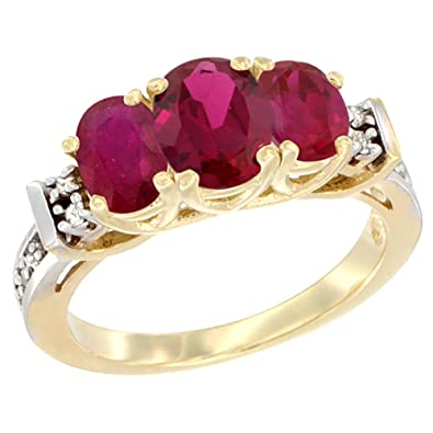 14ct Yellow Gold Natural HQ Ruby Ring 3-Stone Oval Diamond Accent, sizes J - T