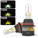 BOSLLA Headlight Bulbs LED 4 Modes for H4(9003/HB2),7200LM 6000K/4300K/3000K/Warning Flash for Sunny,Rainy,Foggy,Snowy and Emergency (Tamaño: H4(9003/HB2))