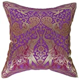 "Artiwa Traditional Indian Elephants Embroidered Violet Purple and Gold Silk Throw Decorative Pillow Case 16""x 16"""