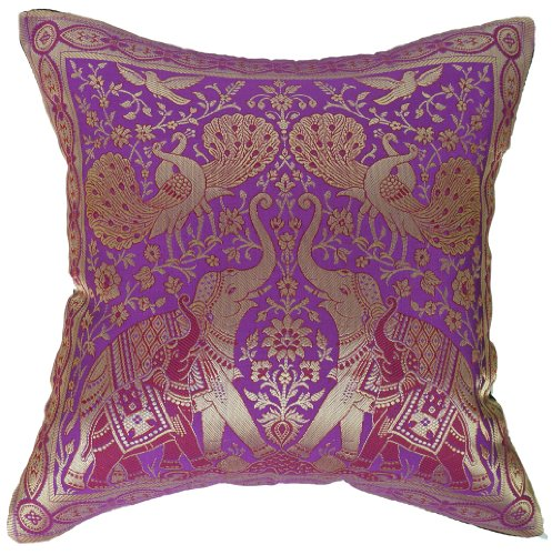 """Artiwa Traditional Indian Elephants Embroidered Violet Purple and Gold Silk Throw Decorative Pillow Case 16""""x 16"""""""