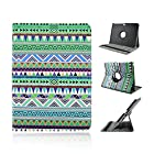 Superfect Green Closure PU Premium 360 Degrees Rotating Stand Leather Folio Case for Samsung Galaxy Tab 3 10.1 10.1 inch GT-P5200 GT-P5210 GT-P5220 Tablet Book Shell Stand Bohemian Aztec Tribal Design Salmon Stripe Zig Zag Chevron Pattern Classic Multifunction Flip Case Plastic Inner Skin Soft Outer Printed Layer Tablet Cover with Auto Wake-up / Sleep Smart Feature