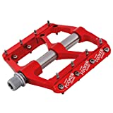 FOOKER MTB Bike Pedals Mountain Non-Slip Bike Pedals Platform Bicycle Flat Alloy Pedals 9/16 3 Bearings For Road BMX MTB Fixie Bikes (red gray 3bearings) (Color: red gray 3bearings)