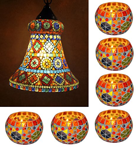Traditional Handpainted Glass Hanging Lamp With Mosaic Candle Holder Combo Set Of 7 Pcs