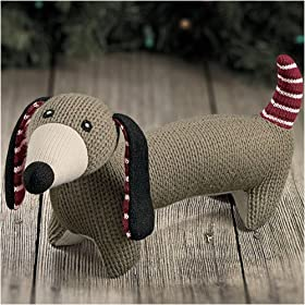 Hand Knit Olive Green Dog 15 inch Knit Stuffed Animal Dachshund