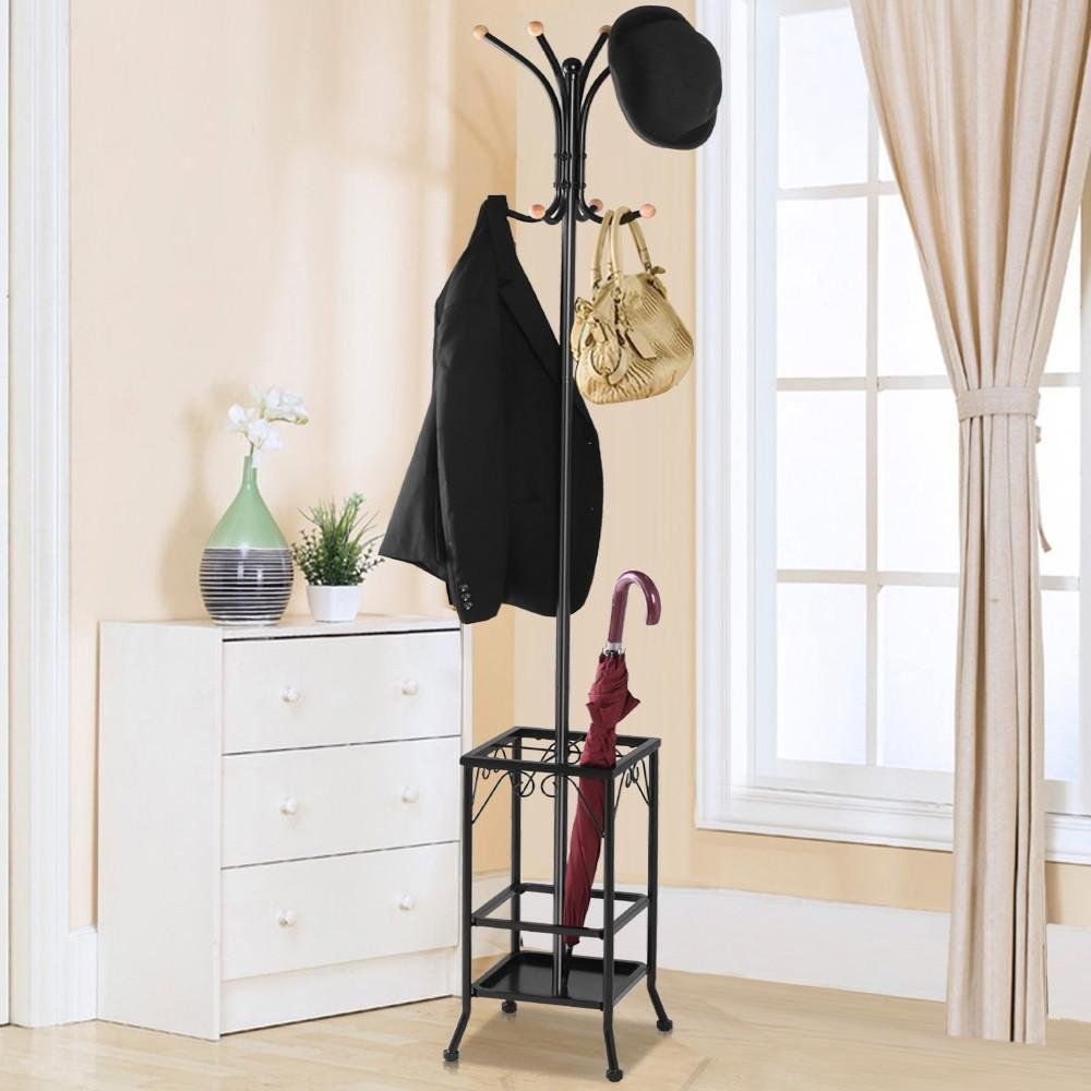 Yaheetech Metal Coat Rack Umbrella Stand Holder Vintage Hat Jakcet Metal Tree 8 Hooks 1