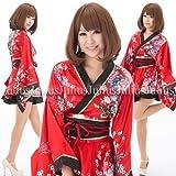■とっても可愛い裾フレア花魁系着物ドレスワンピース/肩出しOK!/黒x赤/pc23v