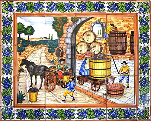 Handpainted ceramic MURAL WINE CELLAR / WINEMAKING / VINIFICATION WITH EDGE BORDER. 29.53'' x 23.62''. (Wine Cellar Decorations compare prices)