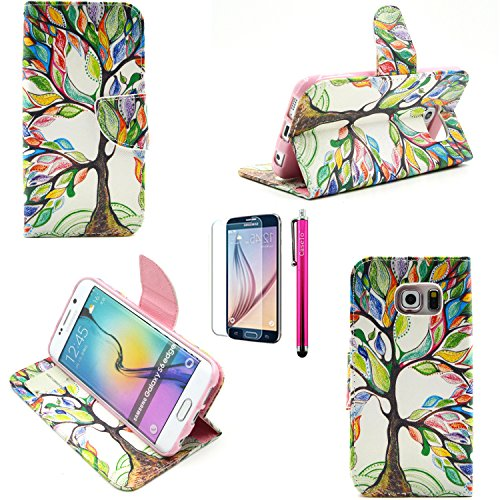 G530 Case, Casemart Top-Grade PU Leather Folio Flip Wallet [Card Slots] Design Case [Slim Fit] [Magnetic Closure] Stand Cover Cute Pattern Shell Case for Samsung Galaxy G530 -Tree