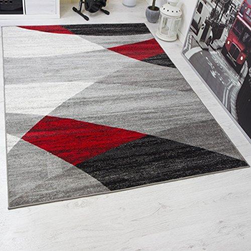 Moderno tappeto da salone, motivo geometrica, screziato in grigio, bianco, nero e rosso, certificazione Öko Tex certificato, rosso, 160 x 220 cm