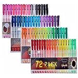 Gelmushta 72 Unique Colors (No Duplicates) Gel Pens Set for Adult Coloring Books with Case