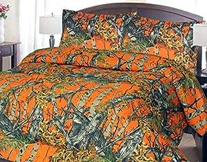 20 Lakes Woodland Hunter Camo Comforter, Sheet, & Pillowcase Set (King, Orange)
